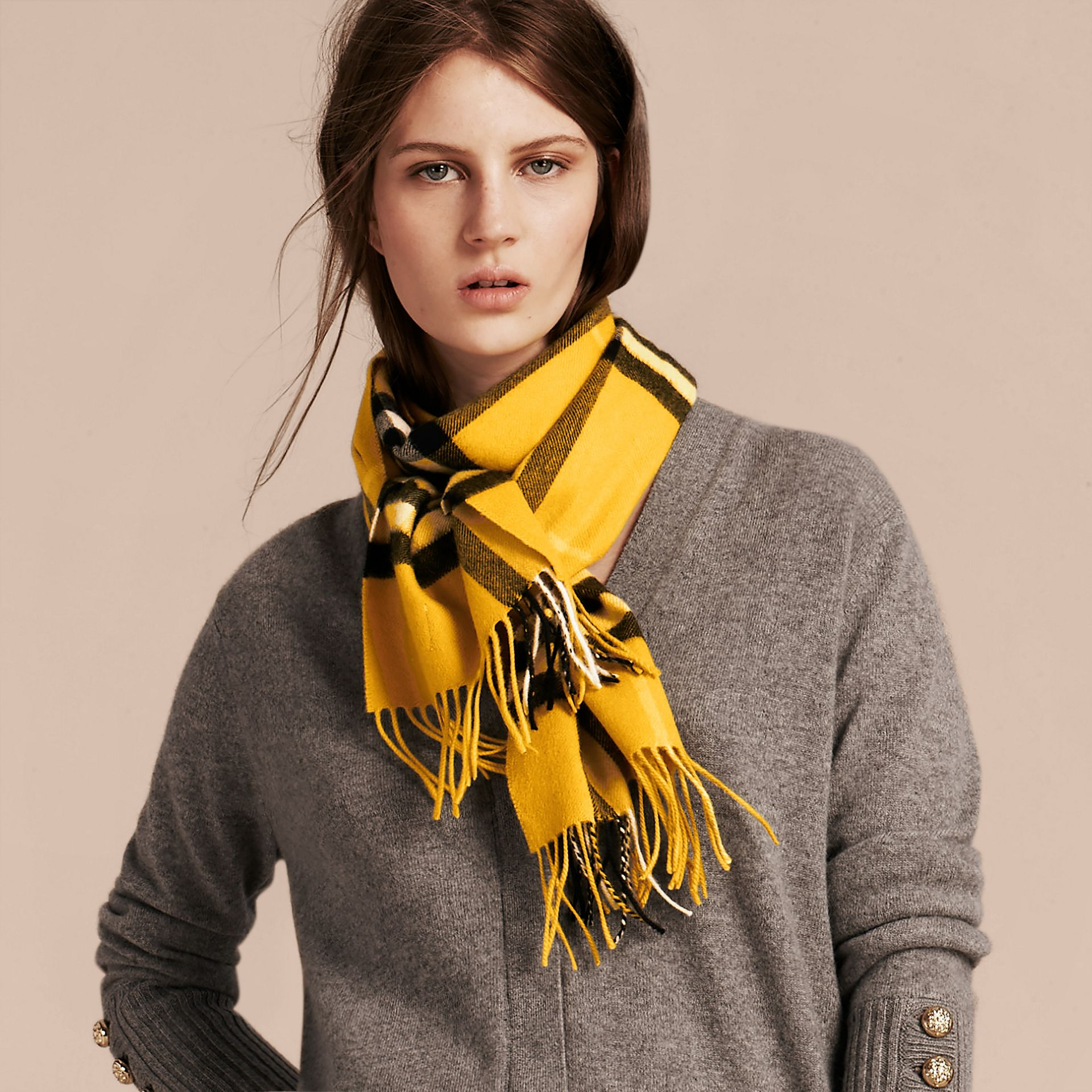 Gorse yellow The Classic Cashmere Scarf in Check  Gorse Yellow - gallery image 3