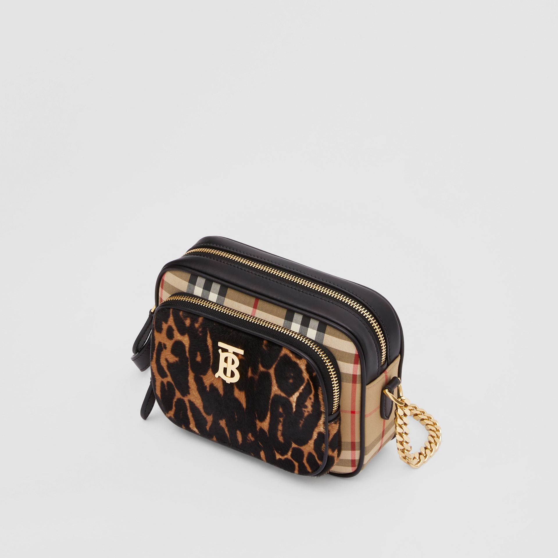 Vintage Check and Leopard Print Calf Hair Camera Bag in Black | Burberry - gallery image 3