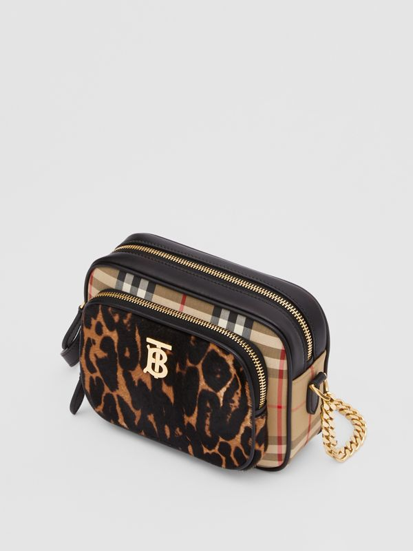 Vintage Check and Leopard Print Calf Hair Camera Bag in Black | Burberry - cell image 3