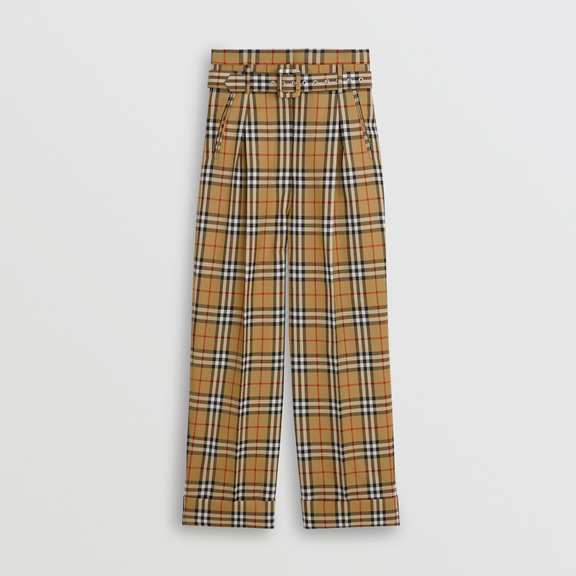 Vintage Check Wool High-waisted Trousers in Antique Yellow - Women | Burberry - gallery image 3
