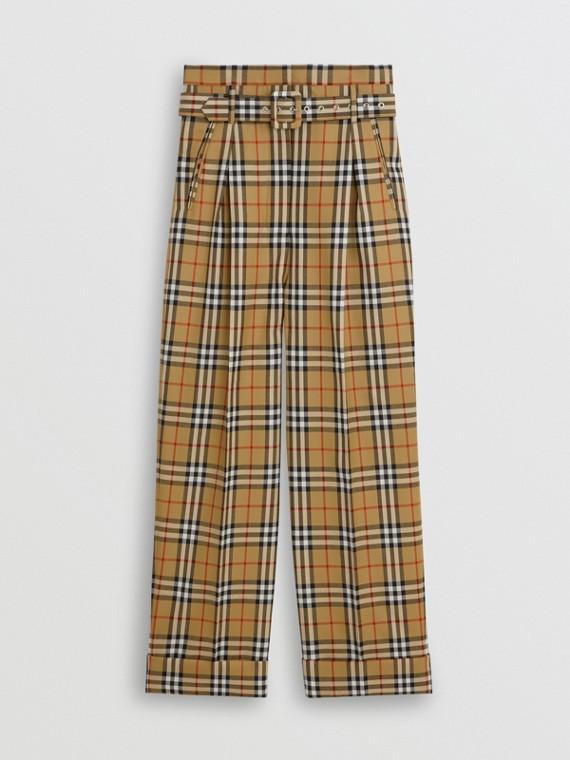 Calças com cós alto de lã em Vintage Check (Amarelo Antigo)