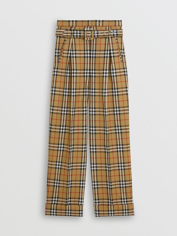 Vintage Check Wool High-waisted Trousers in Antique Yellow - Women | Burberry - cell image 3