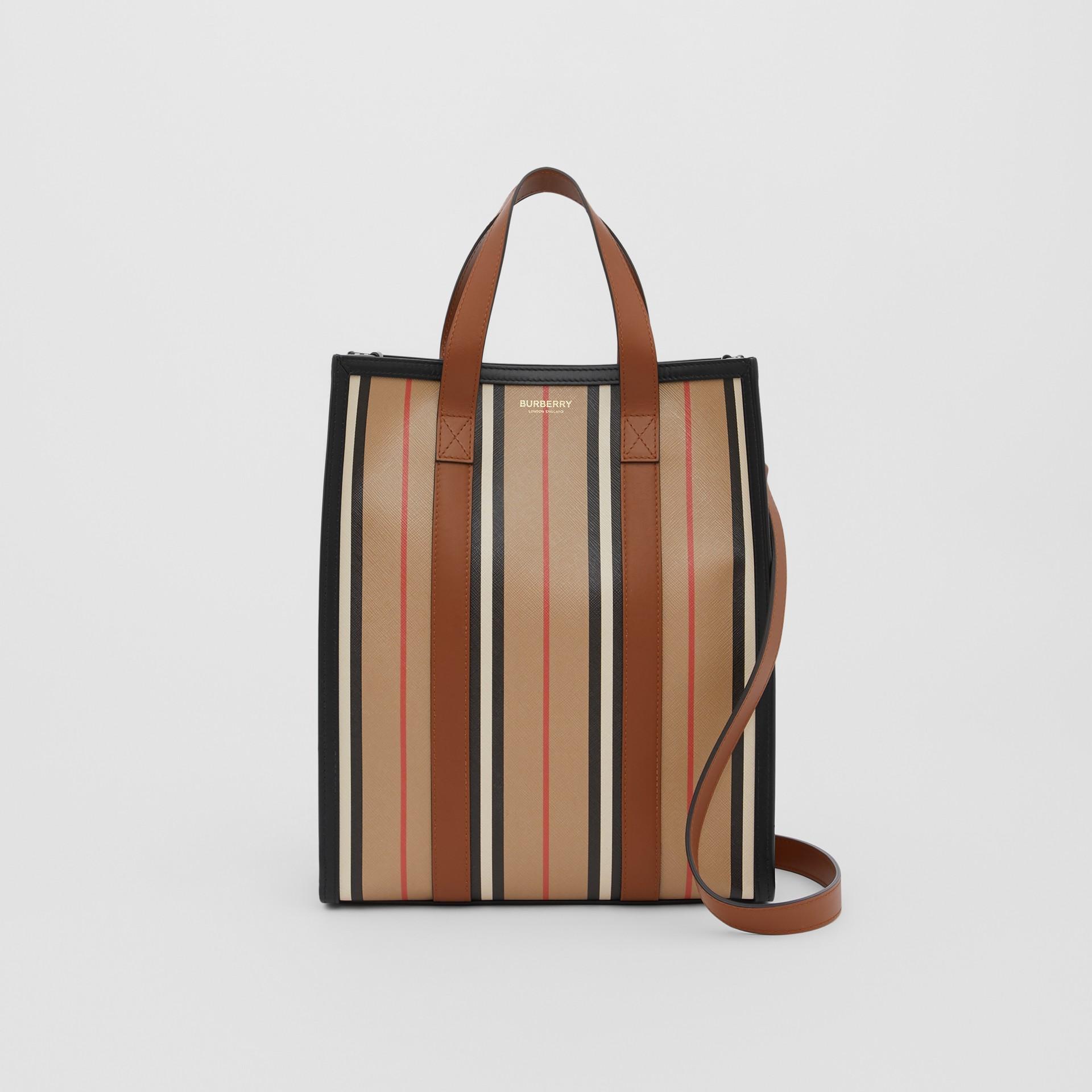 Small Icon Stripe E-canvas Portrait Tote Bag in Archive Beige - Women | Burberry United Kingdom - gallery image 0