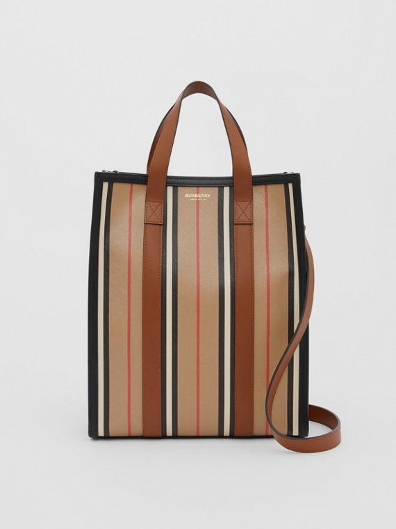 Small Icon Stripe E-canvas Portrait Tote Bag in Archive Beige
