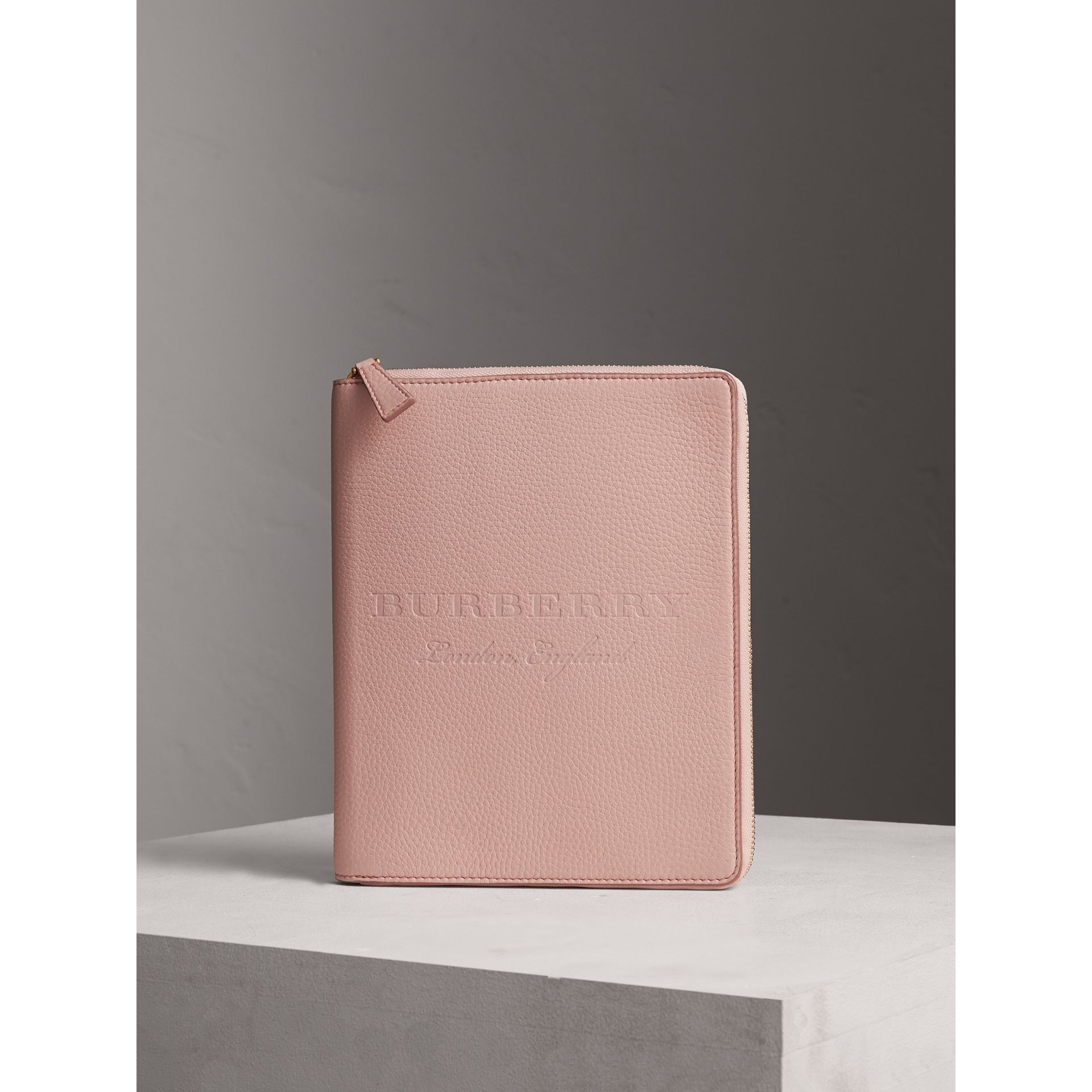 Embossed Leather Ziparound A5 Notebook Case in Pale Ash Rose | Burberry Hong Kong - gallery image 4