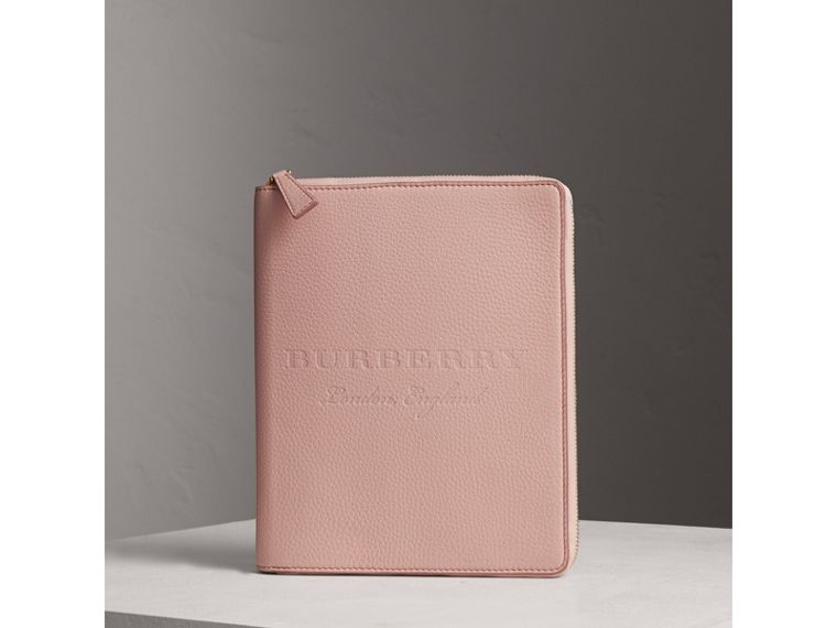Embossed Leather Ziparound A5 Notebook Case in Pale Ash Rose | Burberry - cell image 4