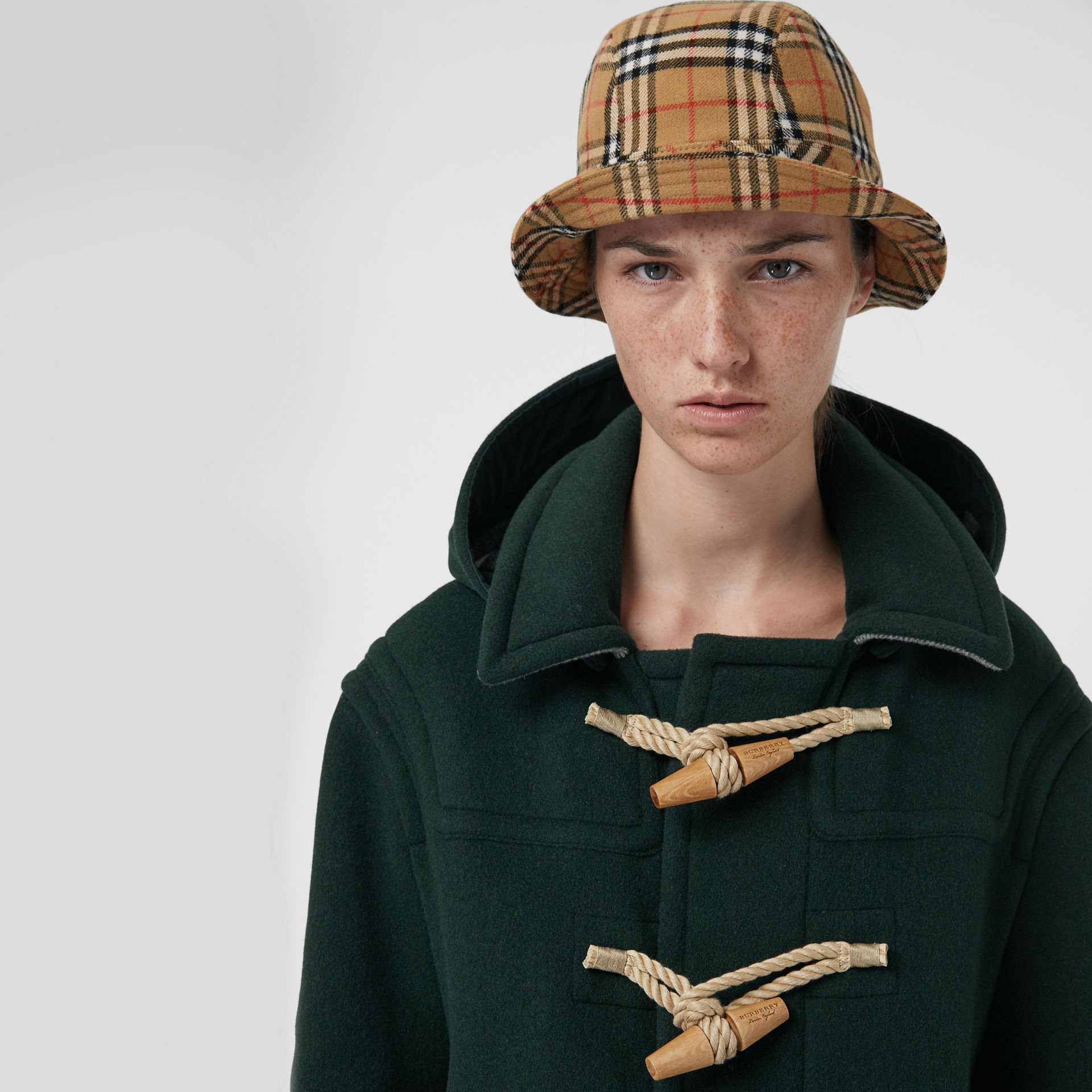 Gosha x Burberry Check Flannel Bucket Hat in Antique Yellow | Burberry United Kingdom - gallery image 2