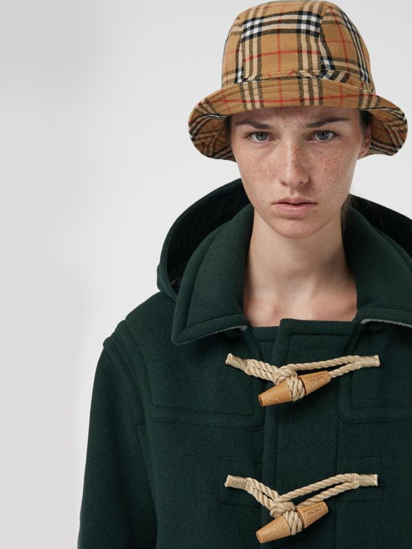 Gosha x Burberry Check Flannel Bucket Hat in Antique Yellow | Burberry United Kingdom - cell image 2
