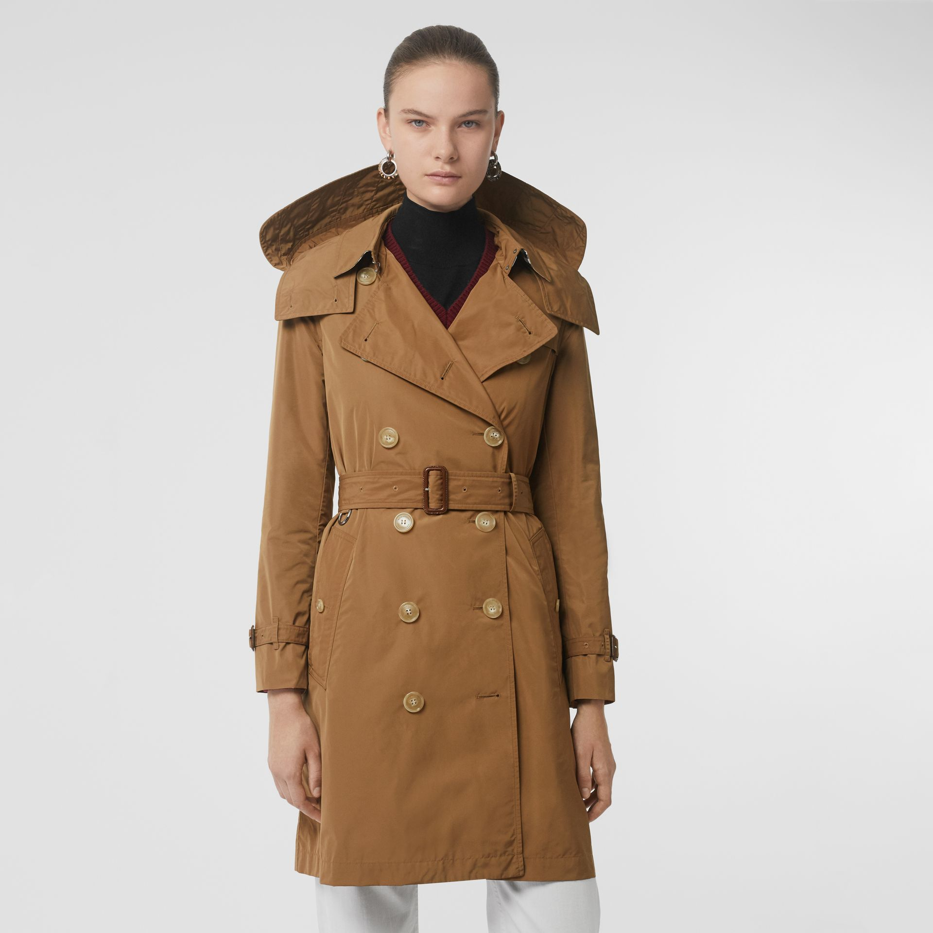 Detachable Hood Taffeta Trench Coat in Camel - Women | Burberry - gallery image 5