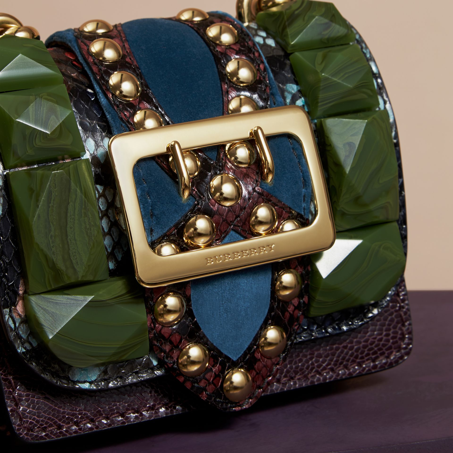 Turquoise green The Mini Square Buckle Bag in Ostrich, Snakeskin and Velvet - gallery image 2