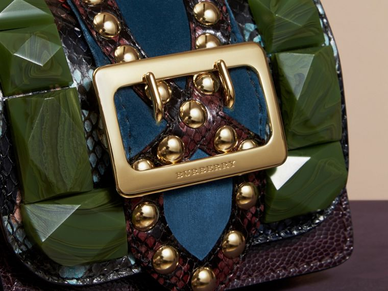 Turquoise green The Mini Square Buckle Bag in Ostrich, Snakeskin and Velvet - cell image 1