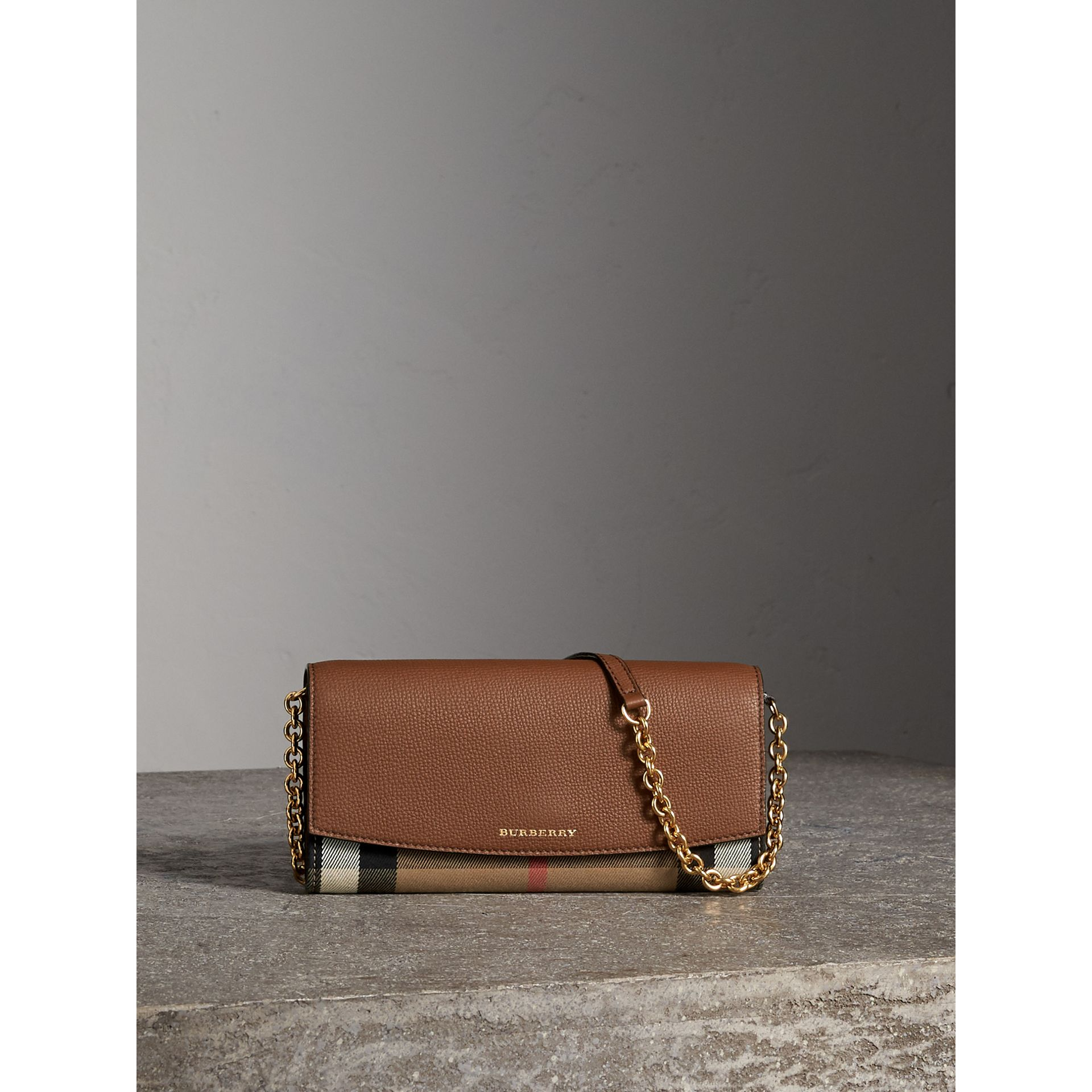 House Check and Leather Wallet with Chain in Tan - Women | Burberry Singapore - gallery image 1