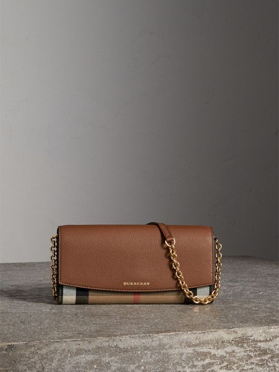 House Check and Leather Wallet with Chain in Tan