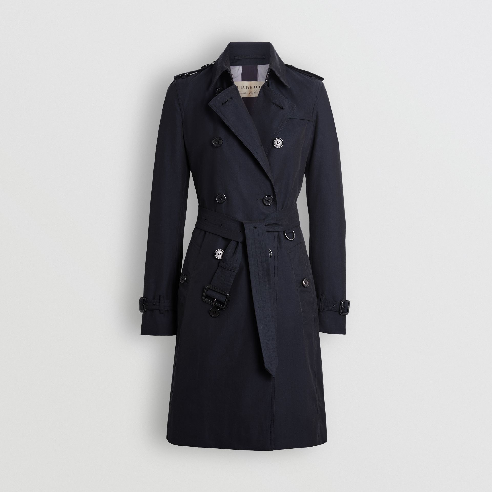 Kensington Fit Cotton Gabardine Trench Coat in Blue Carbon - Women | Burberry - gallery image 3