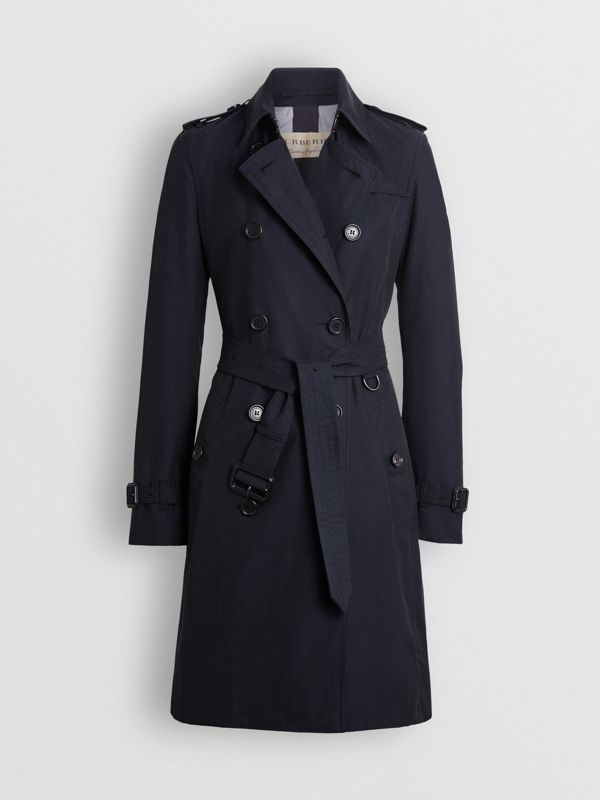 Kensington Fit Cotton Gabardine Trench Coat in Blue Carbon - Women | Burberry - cell image 3