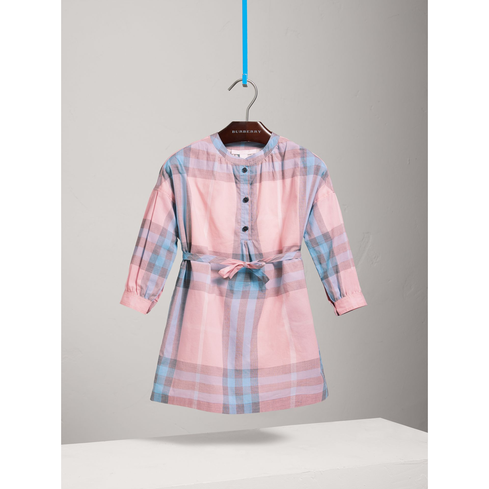 Check Cotton Shirt Dress in Ice Pink - Girl | Burberry - gallery image 0