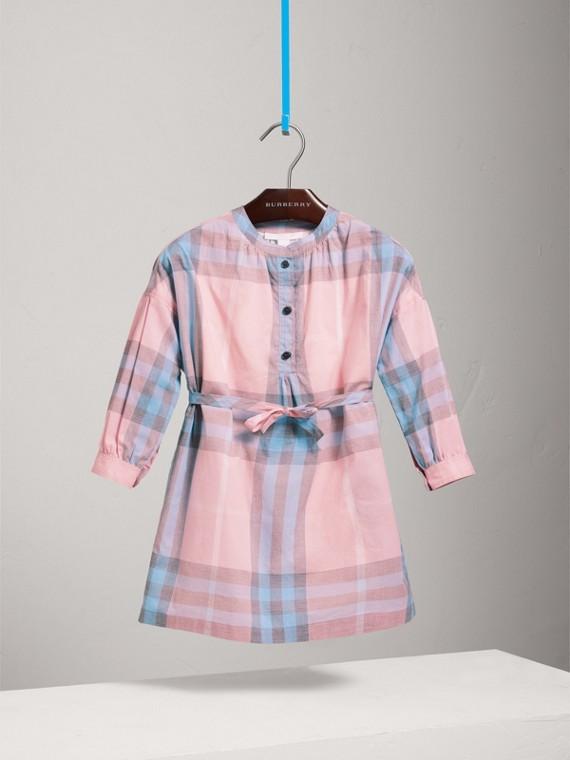 체크 코튼 셔츠 드레스 (아이스 핑크)