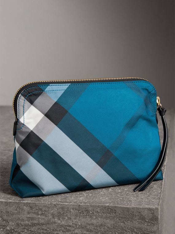 Large Zip-top Check Pouch in Marine Blue - Women | Burberry - cell image 2