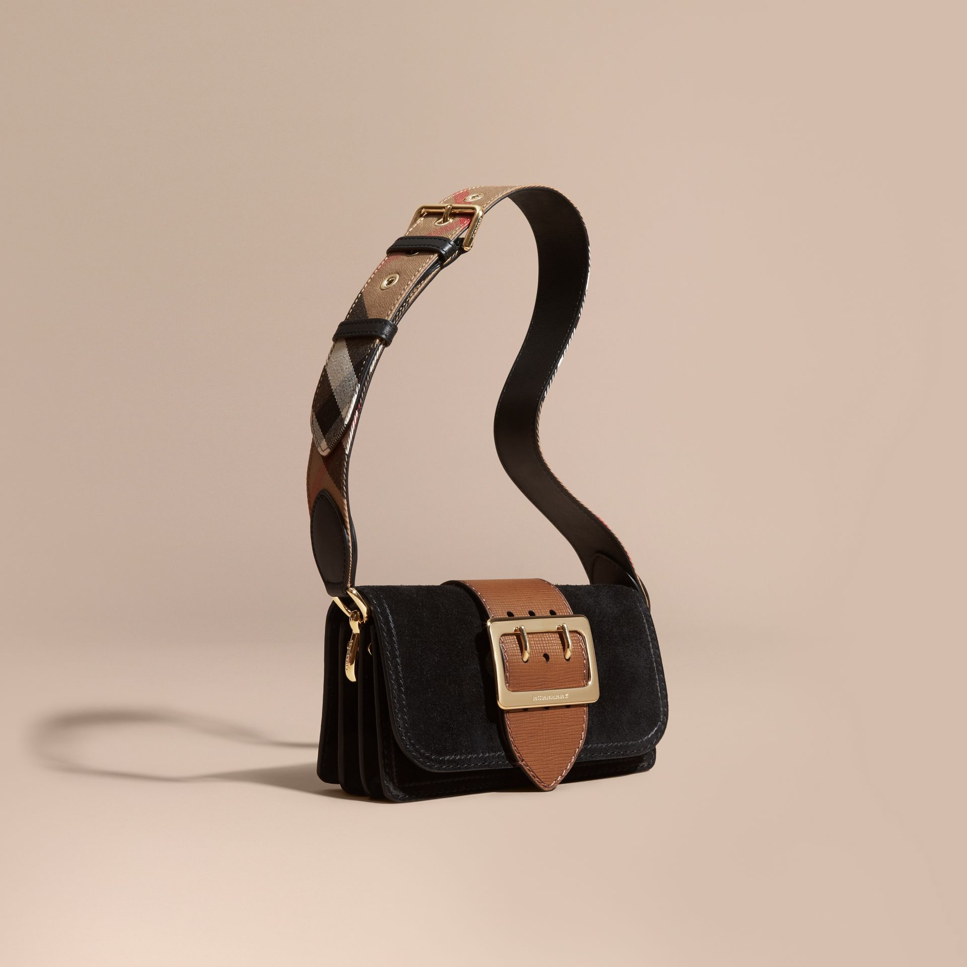 The Small Buckle Bag in Suede with Topstitching in Black / Tan - gallery image 1