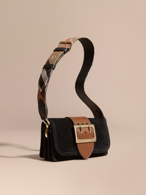 The Small Buckle Bag in Suede with Topstitching Black / Tan