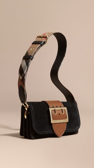 The Buckle Bag in Suede with Topstitching