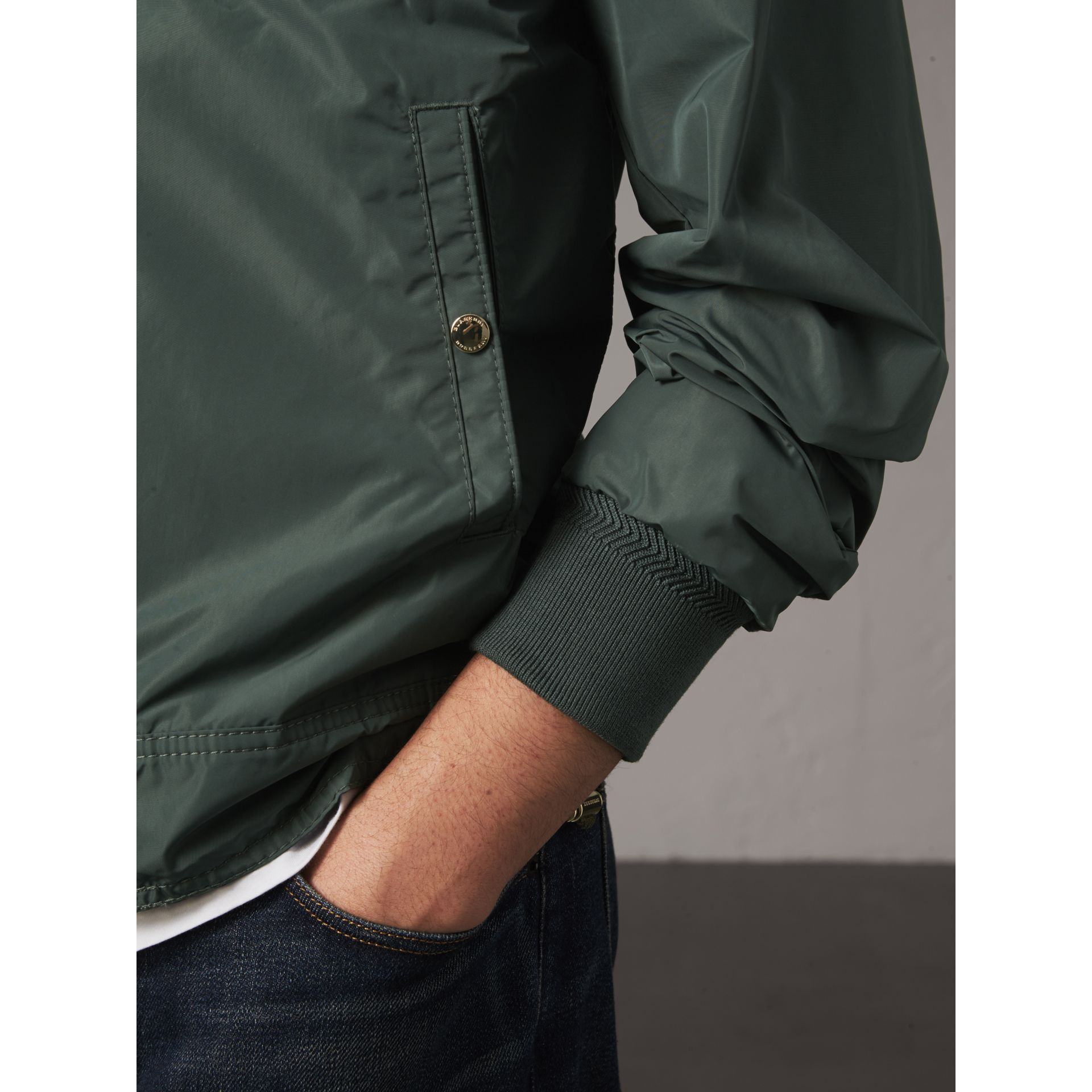 Shape-memory Taffeta Bomber Jacket in Smokey Green - Men | Burberry - gallery image 4