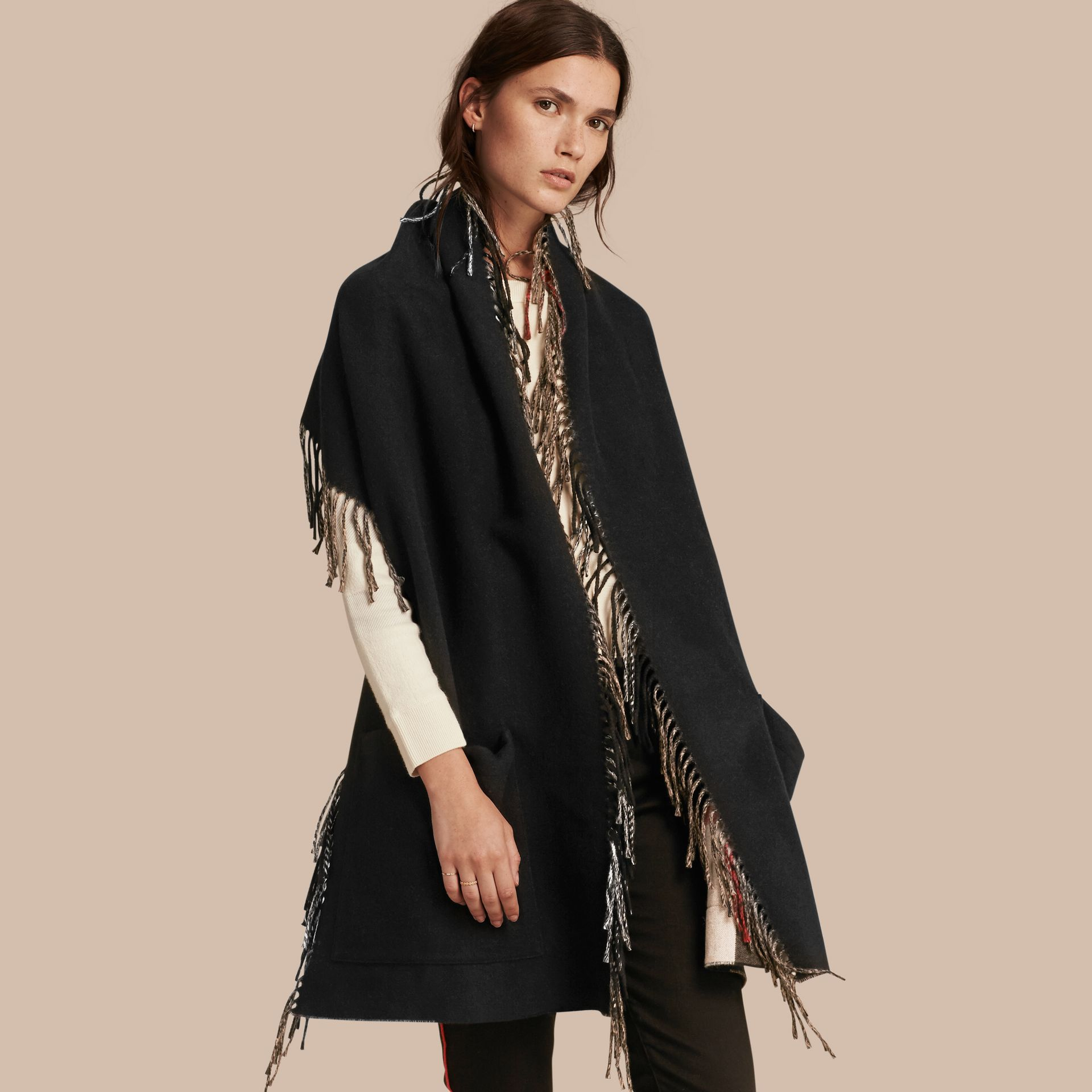Fringed Cashmere Merino Wool Stole in Camel/black - gallery image 1