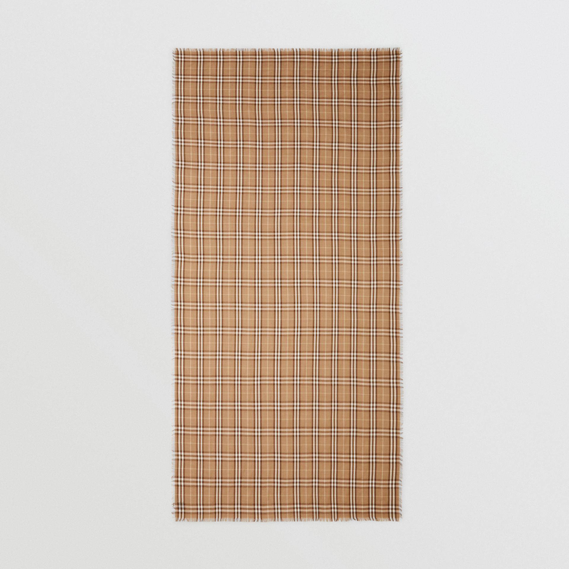 Vintage Check Lightweight Cashmere Scarf in Mid Camel | Burberry United Kingdom - gallery image 5