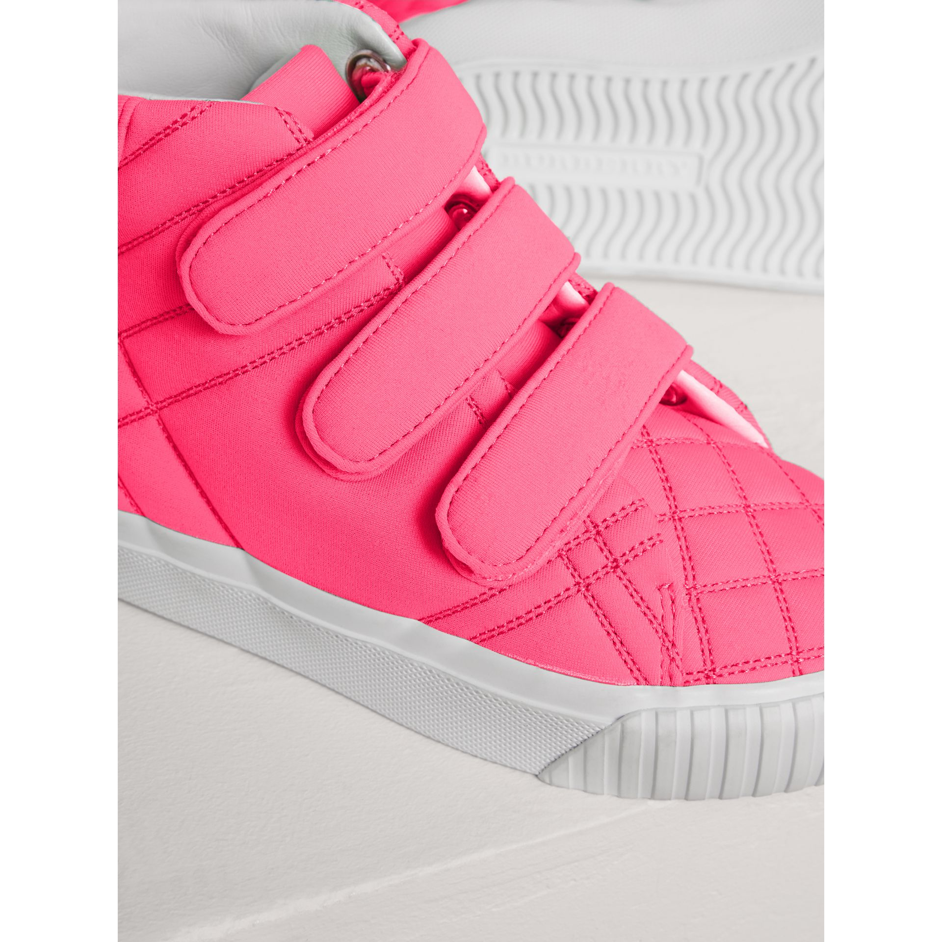 Quilted High-top Trainers in Neon Pink | Burberry - gallery image 1