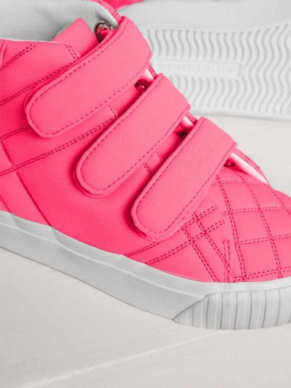 Quilted High-top Sneakers in Neon Pink | Burberry - cell image 1