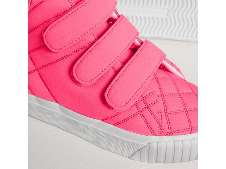 Quilted High-top Trainers in Neon Pink | Burberry - cell image 1