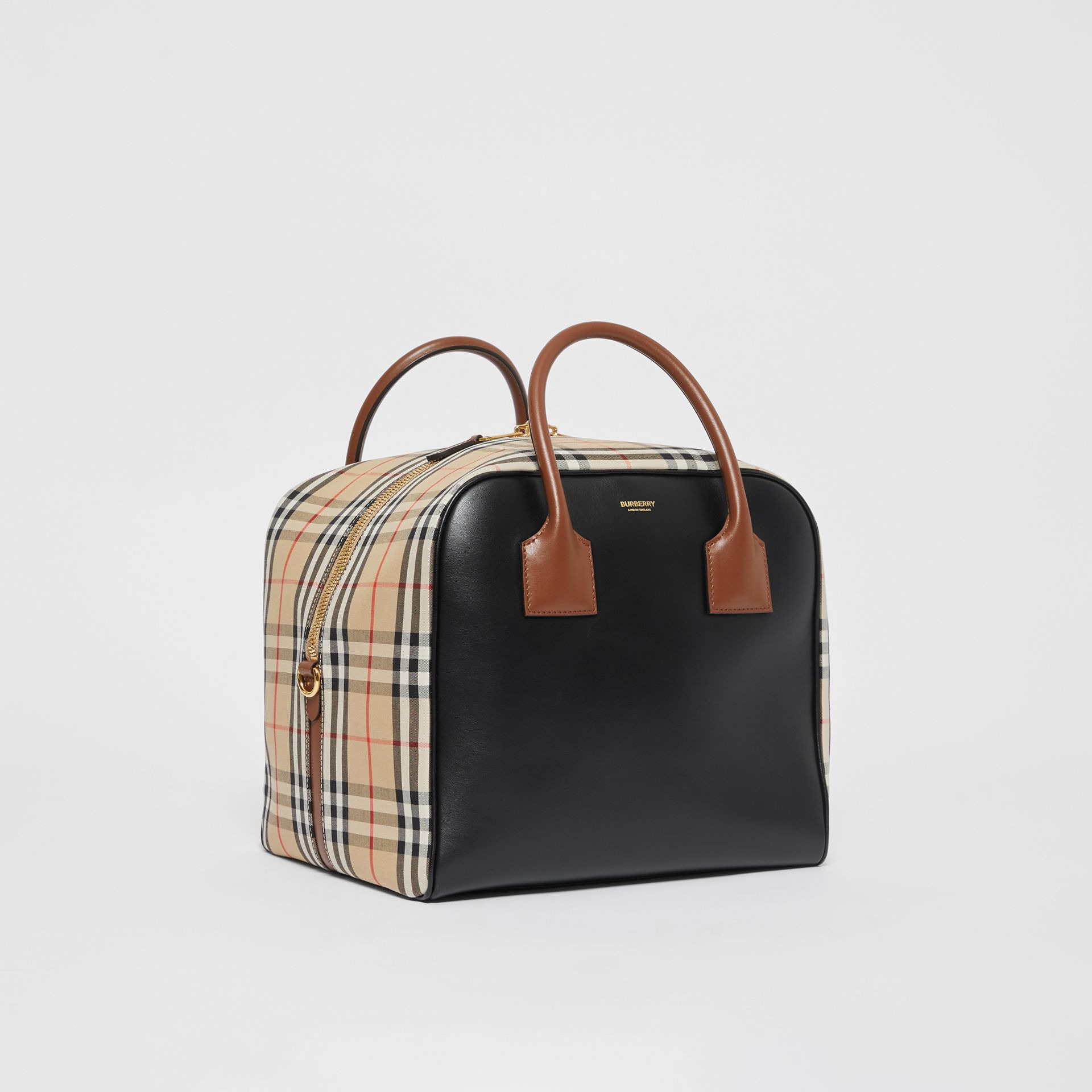 Medium Leather and Vintage Check Cube Bag in Archive Beige - Women | Burberry - gallery image 6