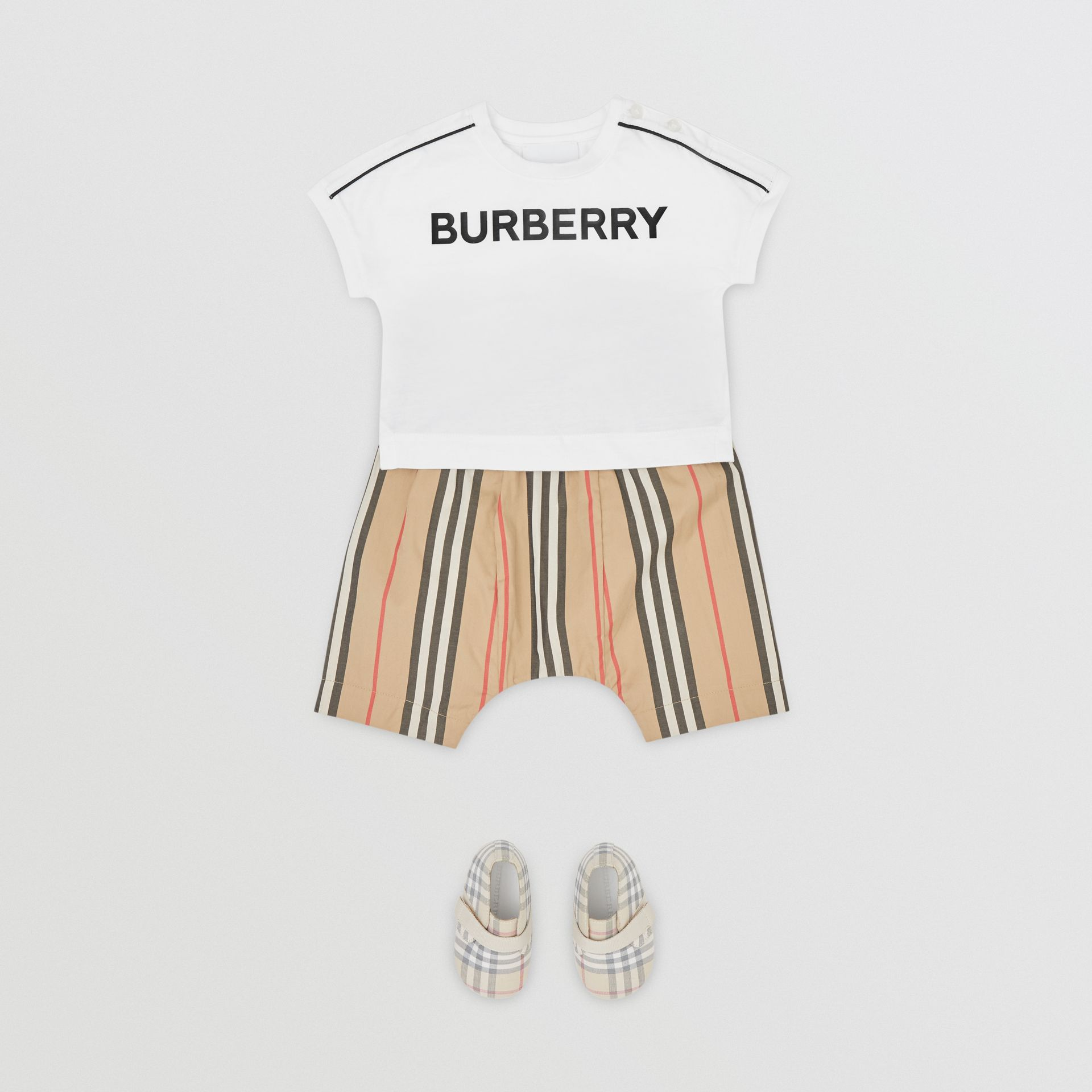 Logo Cotton T-shirt in White - Children | Burberry United Kingdom - gallery image 2