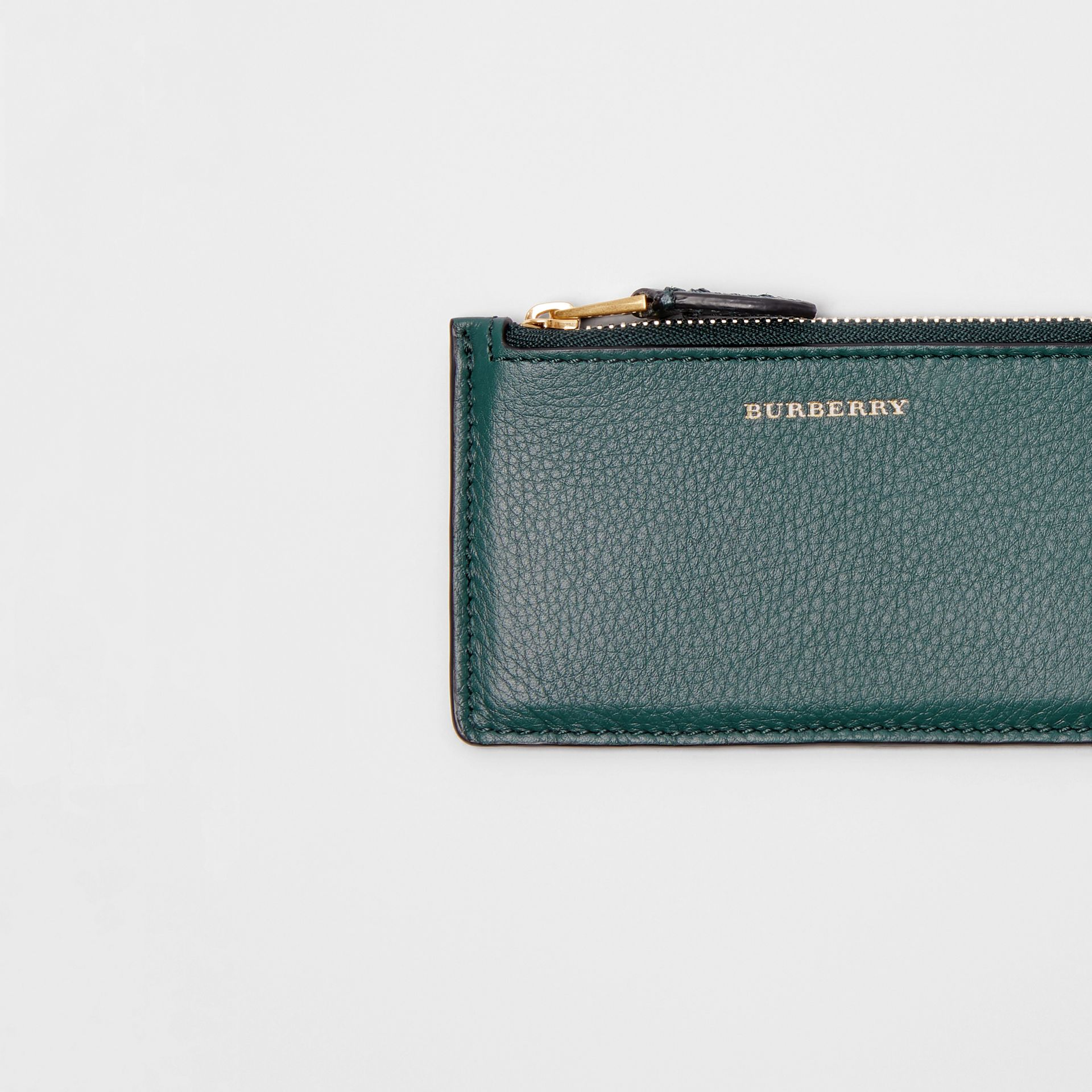 Two-tone Leather Zip Card Case in Dark Cyan | Burberry - gallery image 1