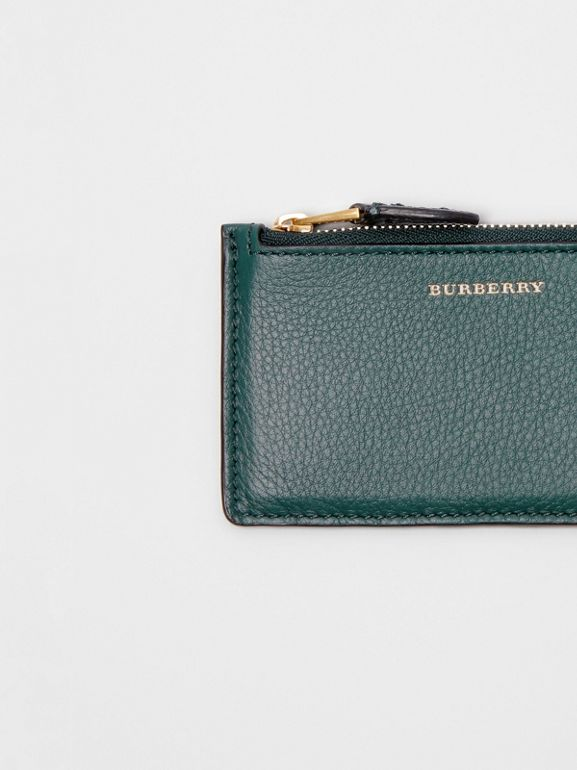 Two-tone Leather Zip Card Case in Dark Cyan | Burberry - cell image 1