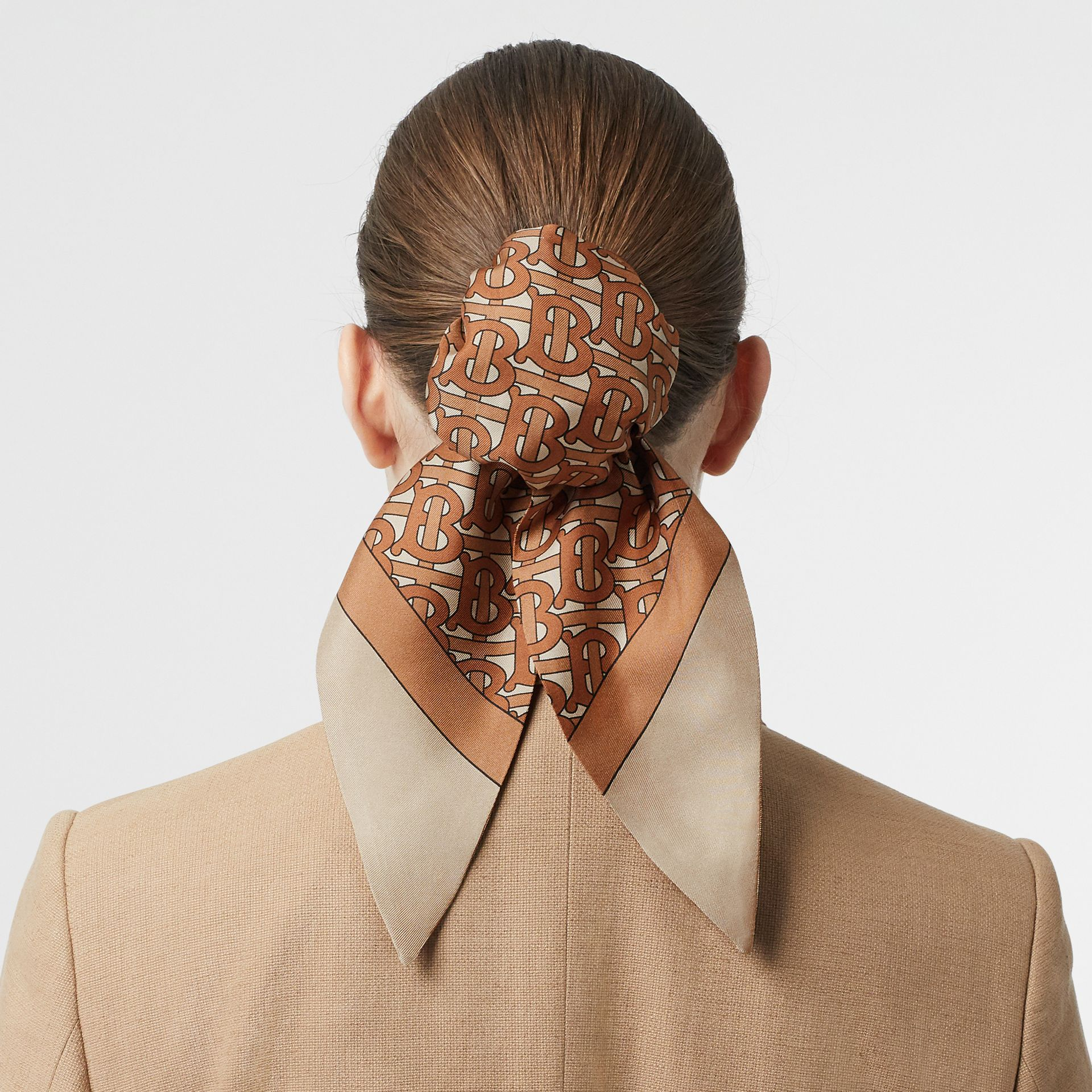 Monogram Print Silk Hair Scarf in Brown - Women | Burberry - gallery image 2