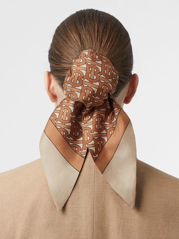 Monogram Print Silk Hair Scarf in Brown - Women | Burberry - cell image 2
