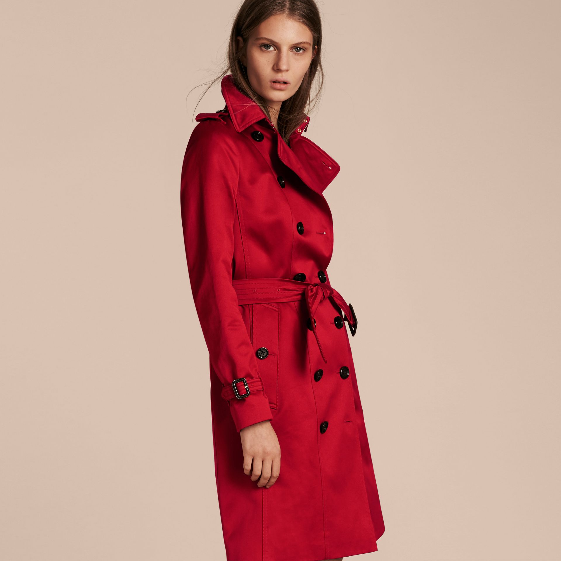 Parade red Cotton Sateen Trench Coat - gallery image 7