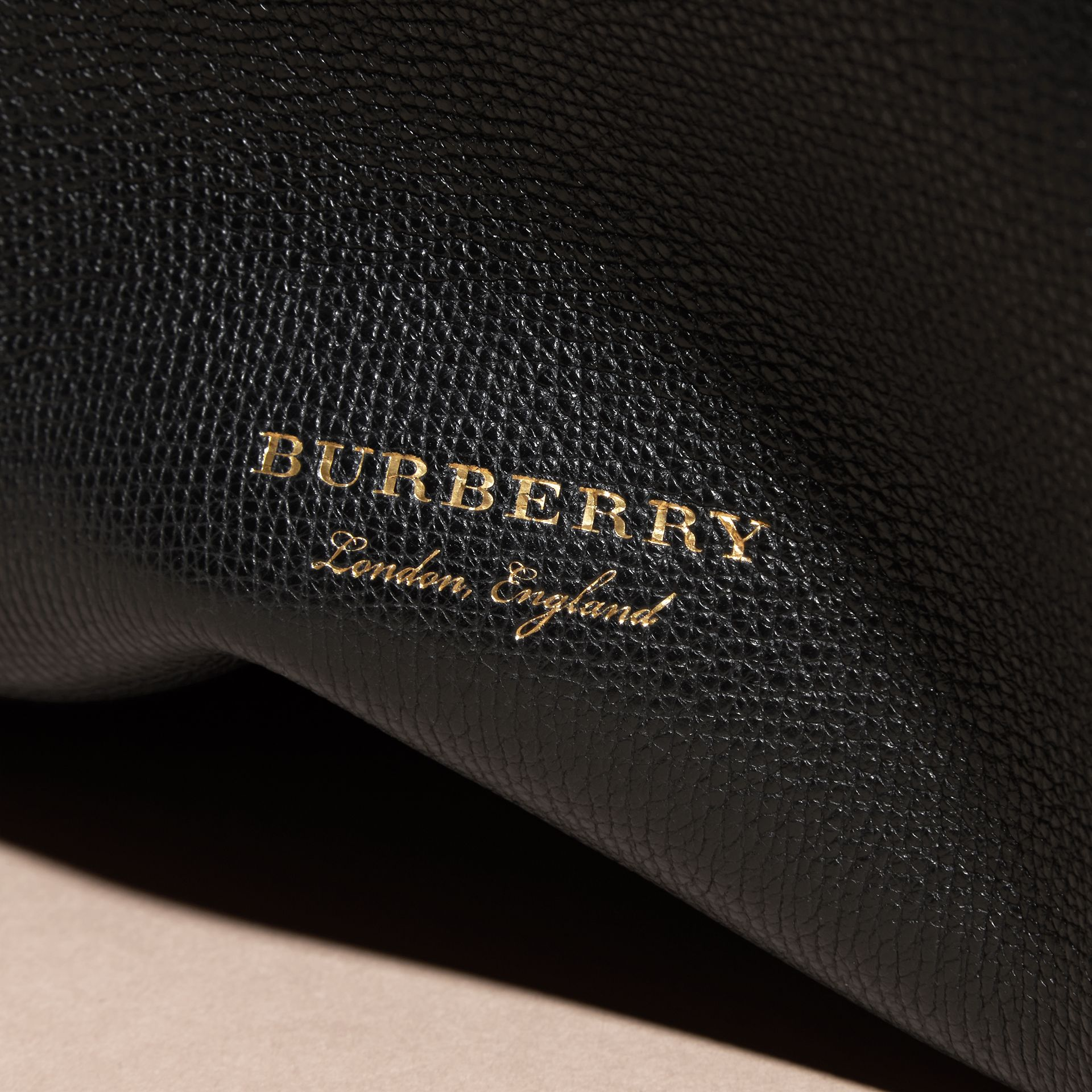 The Medium Banner in Leather and House Check in Black - Women | Burberry Australia - gallery image 6