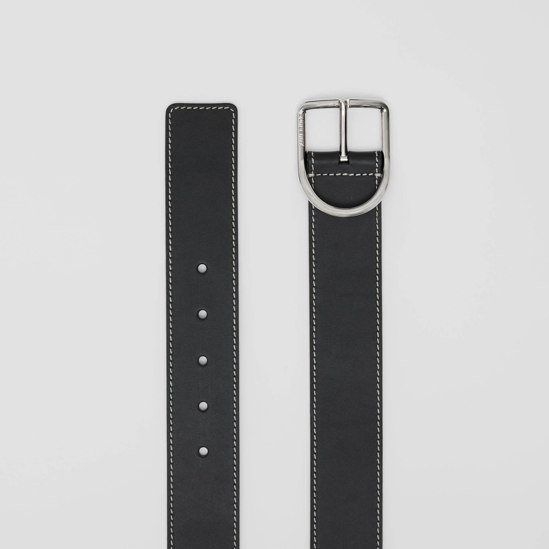 Topstitch Detail Leather Belt in Black - Men | Burberry - gallery image 5