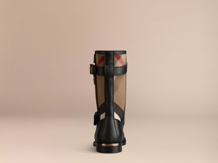 Black Check Detail Belted Leather Boots - cell image 2
