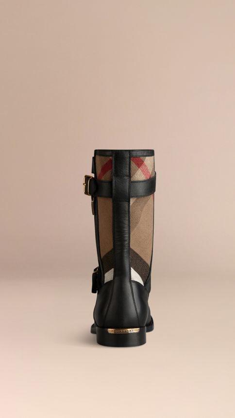 Black Check Detail Belted Leather Boots - Image 3