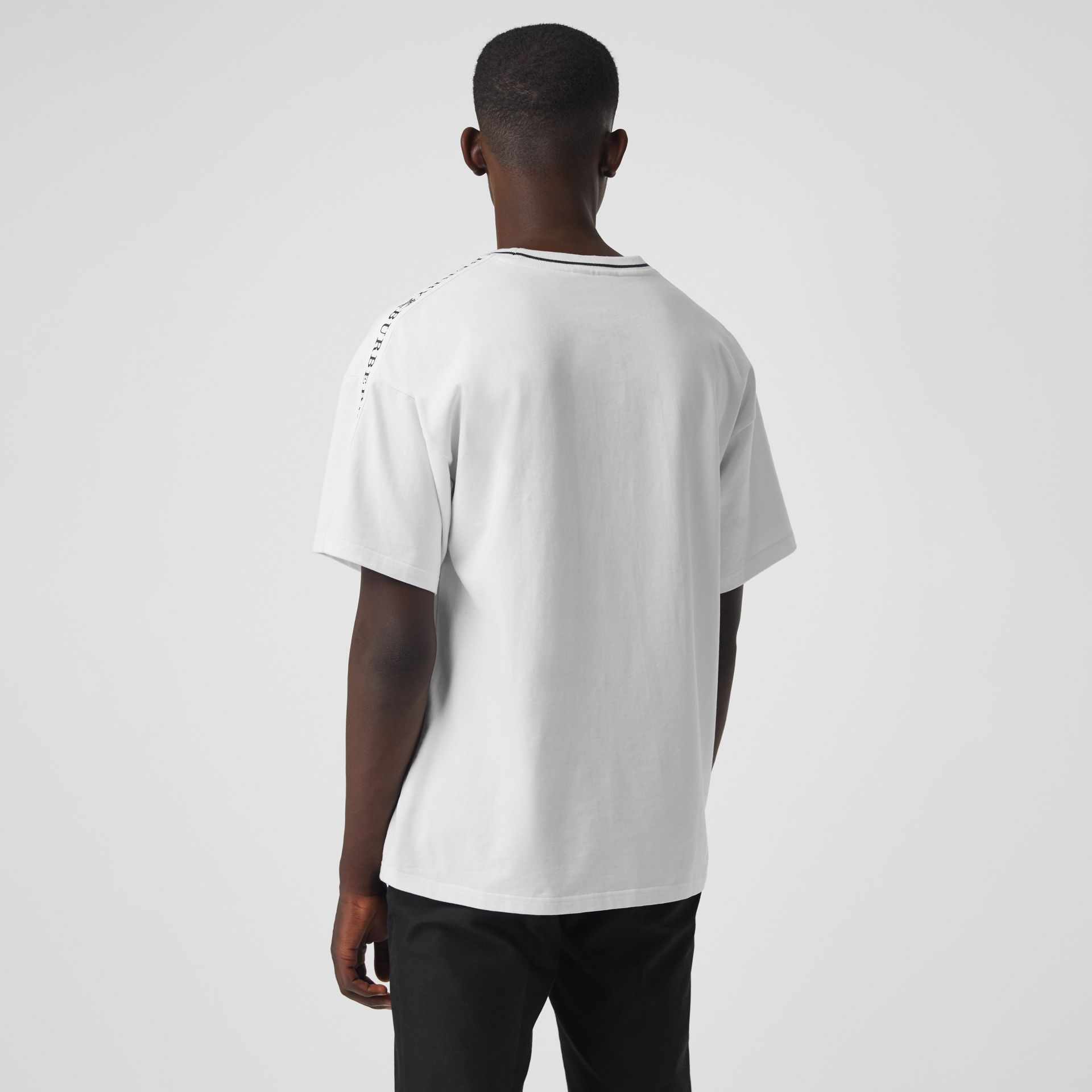 Tape Detail Cotton T-shirt in White - Men | Burberry - gallery image 2