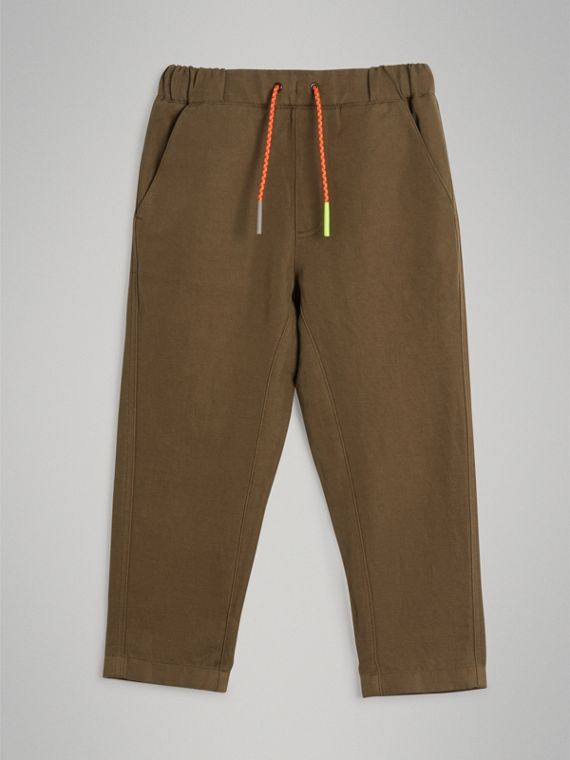 Cotton Linen Drawcord Trousers in Olive