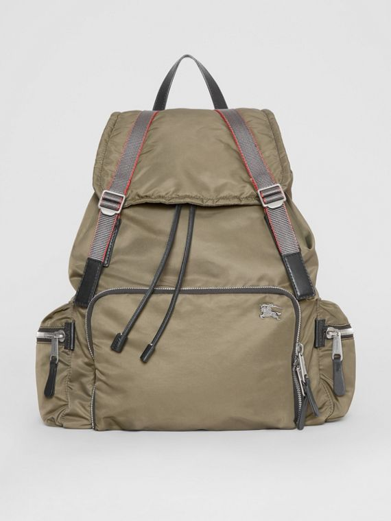 The Extra Large Rucksack in Aviator Nylon in Celadon