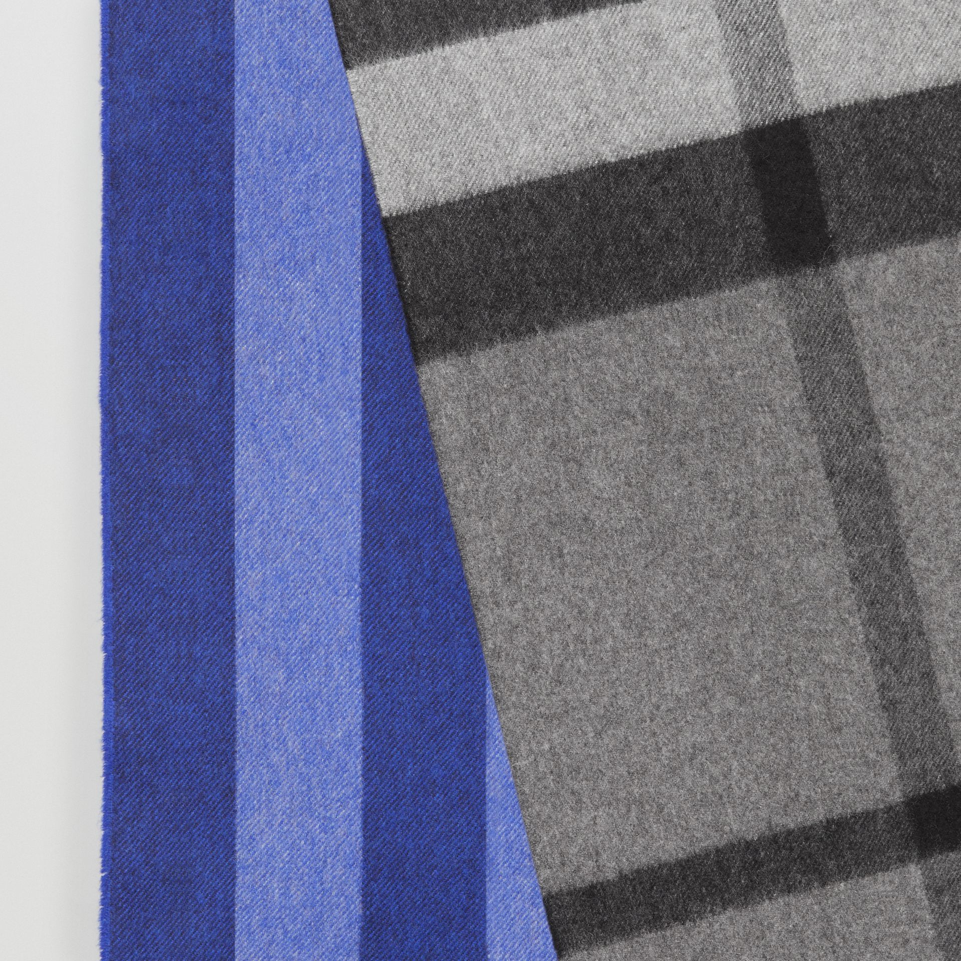 Colour Block Check Cashmere Scarf in Bright Cobalt | Burberry - gallery image 1