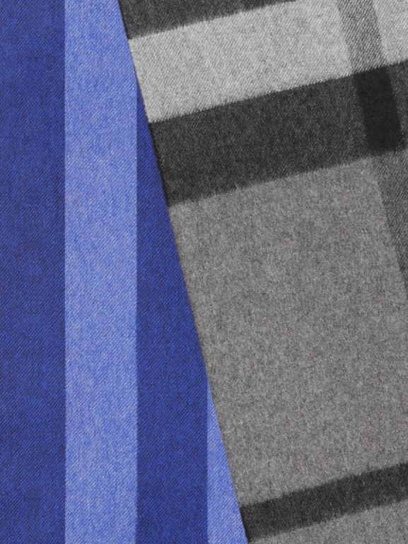 Colour Block Check Cashmere Scarf in Bright Cobalt | Burberry - cell image 1