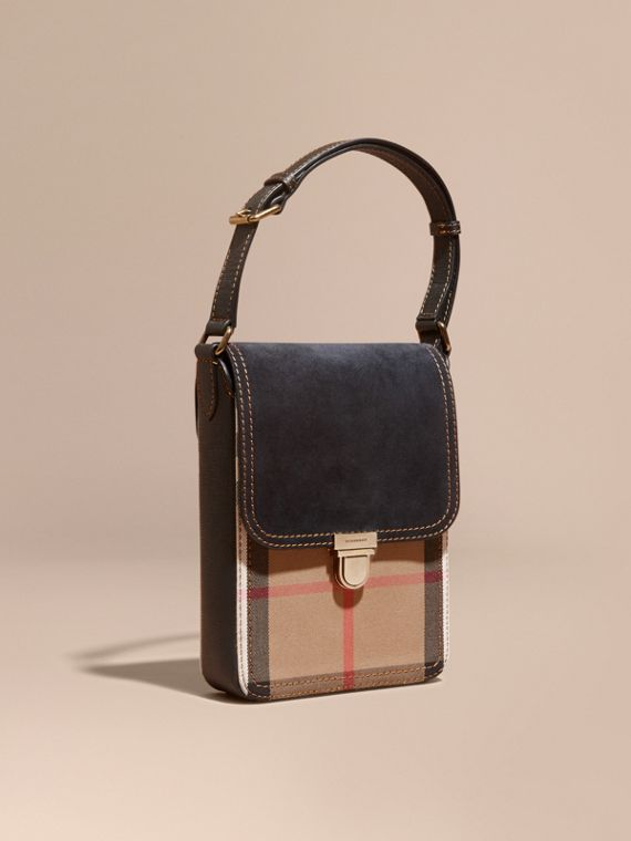 The Small Satchel aus englischem Veloursleder in House Check