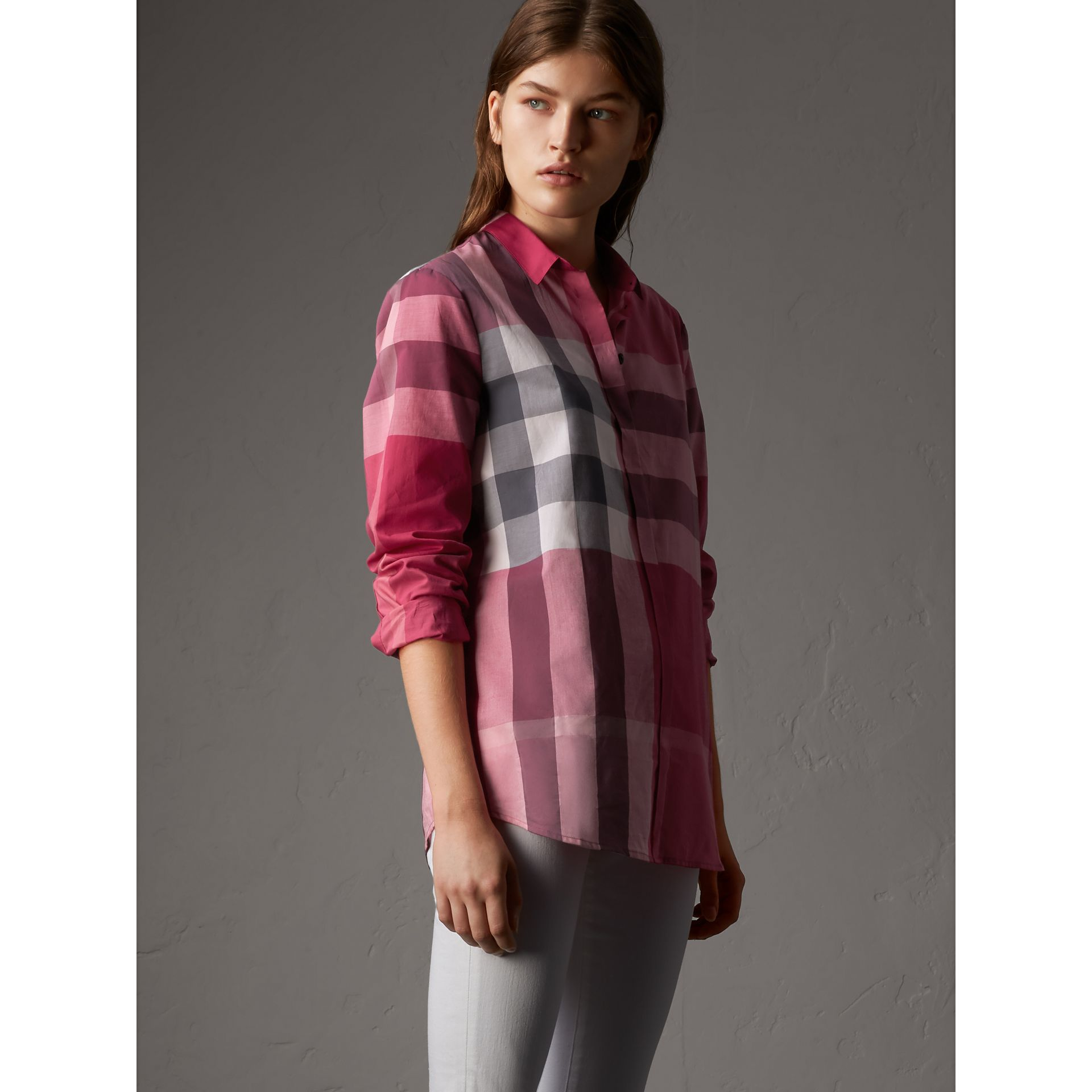Check Cotton Shirt in Crimson Pink - Women | Burberry - gallery image 5
