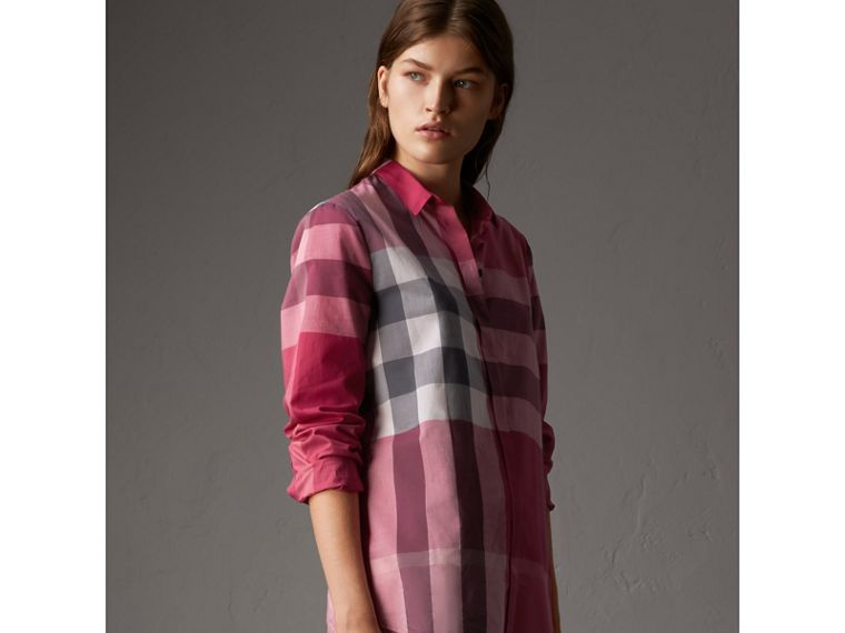 Check Cotton Shirt in Crimson Pink - Women | Burberry - cell image 4